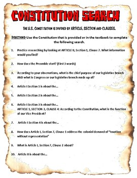 Consitution Search Worksheet