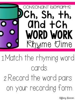 Consonant Digraphs Word Work {ch, sh, th, and tch}