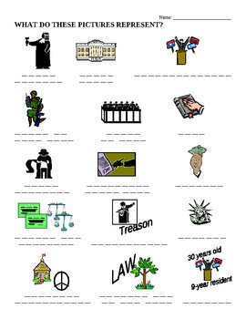 Constitution - Match Pictures to Words Worksheet & KEY
