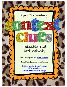 Context Clues Foldable and Sort for Upper Grades