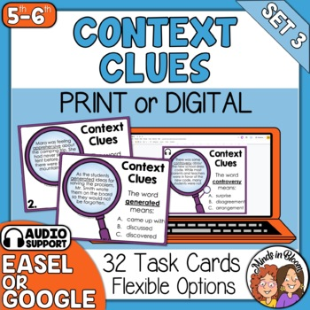 Context Clues Task Cards: 32 Cards for Grades 5-6