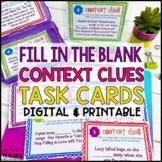 Context Clues Task Cards Set #2 Fill In the Blank ~ Differ