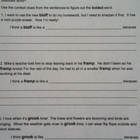 Context clues worksheet