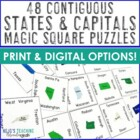 Contiguous 48 States & Capitals Magic Square Puzzle