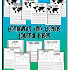 Continents/Oceans Journal Pages