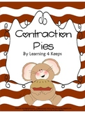 Contraction Pies Pack with center, practice, and assessments!