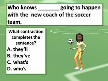 Contraction Soccer Action Lesson Pptx, Test Prep, + note p