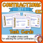 Contractions Cards (Set 1): 32 Multiple Choice Sentence Cards