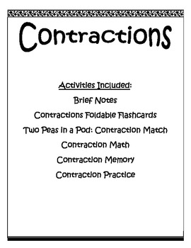 Contractions Grammar Activties