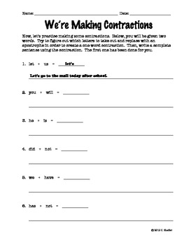 Contractions Worksheets / Grammar (2 pages plus key)