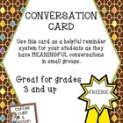 Conversation Card Freebie