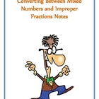 Converting Mixed and Improper Fractions Notes