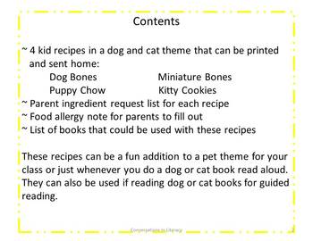 Cooking in the Classroom Pet Theme