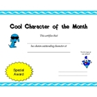 Cool Character of the Month Student Award Custom Designed