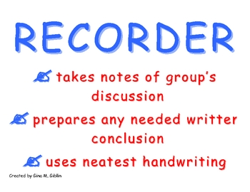 Cooperative Group Roles: Recorder