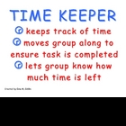 Cooperative Group Roles: Time Keeper