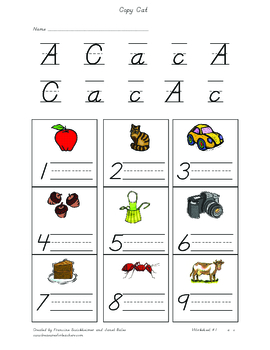 Copy Cat Phonics Worksheet- Worksheet 1