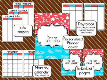Coral and Aqua Teacher Planner