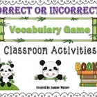 Correct Or Incorrect Context Clues Vocabulary Game