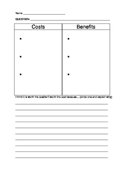 Cost-benefit worksheet