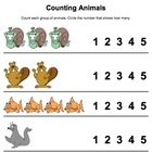 Counting Animals - Counting Worksheet