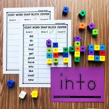 Counting Snap Cubes - Primer Sight Word List