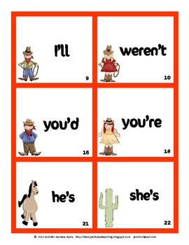 Country Contractions Quiz Cards  Set 1