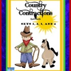 Country Contractions Quiz Cards  Sets 1, 2, 3, and 4