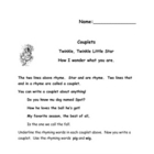Couplet Worksheets