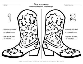 Cowboy Boot Line Symmetry coloring page
