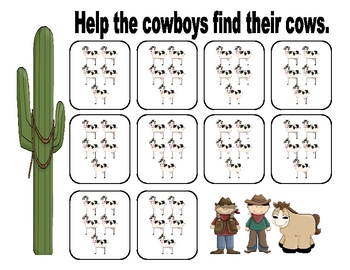 Cowboy Count by 5's Math Center