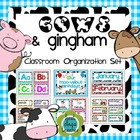 Cows & Gingham (Farm) Classroom Organization and Decor Set