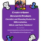 Create-A-Game! Planning Packet for Enrichment Research Product