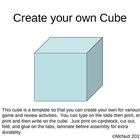 Create your own game cube / dice