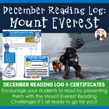 Creative Monthly Elementary Reading Log for December Climb