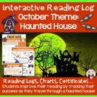 Creative Monthly Elementary Reading Log for October Hallow