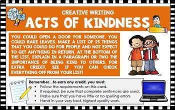Creative writing activity: Create Act of Kindness list (Co