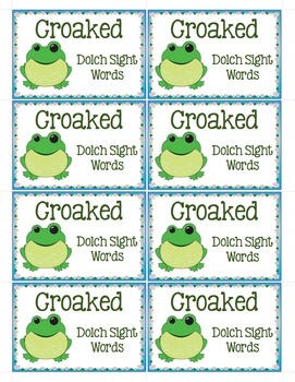 Croaked! Dolch Sight Word Lists 1-9