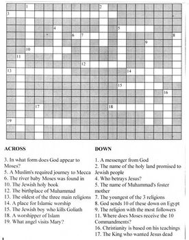 Crossword Puzzle for Judaism, Christianity and Islam
