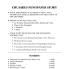 Crusades Newspaper Front Page