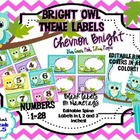 Bright Owl Theme LABELS Chevron (pink, purple, yellow, gre