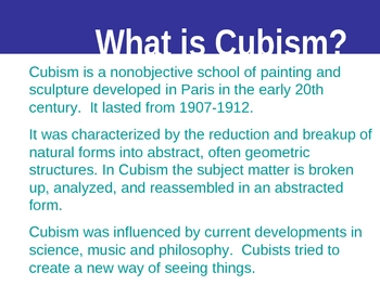 Cubism Art Project PowerPoint