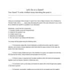 Culminating Novel/Story Activity - Writing about Quests