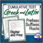 Cumulative Test of Greek and Latin Word Roots or Stems
