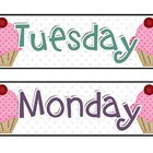 Cupcake Days of the Week Signs