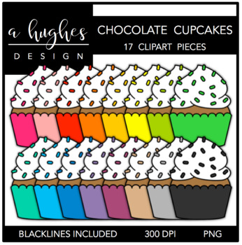 Cupcakes: Bright Chocolate {Graphics for Commercial Use}