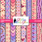 Cupid's Glittery Digital Scrapbook Background Paper Pack 1