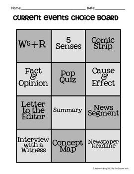 Current Events Choice Board + 12 Option Sheets