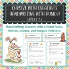 Cursive With Creatures Fun Handwriting Writing Worksheets