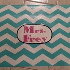 Chevron Vinyl Classroom Rug Personalized with Teacher's Name